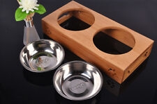 Pet Dog Cat Food Water Feeder Twin Bowls 2 Raised Bamboo Stainless Steel Feeder