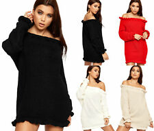 Womens Cable Knit Ruffle Frill Off Shoulder Long Sleeve Ladies Mini Jumper Dress