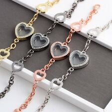 Heart Full Crystal Living Memory Locket Floating Charms Bangle Bracelet Magnetic