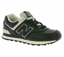 NEW New Balance 574 Men's Shoes Real Leather Sneaker Trainers Black Sports