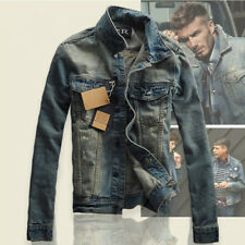 Men's Stylish Slim Thicken Casual Lapel Coat Jean Biker Denim Jacket Outerwear