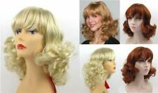 70'S WOMENS LONG MID-LENGTH WAVY LOOSE SMOOTH CURLS HAIR ENDS W/ BANGS WIG JENNA