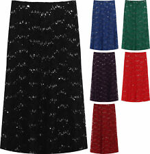 Plus Womens Floral Lace Lined Sequin Flared Elasticated Ladies Midi Skirt