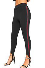 Womens Contrast Racer Striped Side Stretch High Waist Trousers Ladies Ski Pants