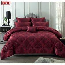 6 Piece 300TC Charlotte Red Jacquard Comforter Set by Accessorize - QUEEN KING