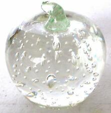 Vintage Hand Blown Glass CLEAR APPLE FIGURINE Collectible Art Glass Paperweight