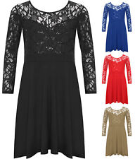 New Plus Size Womens Lace Sequin Long Sleeve Ladies Party Skater Dress 14 - 28
