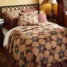 3PC TEA STAR RUSTIC PRIMITIVE FARMHOUSE PATCHWORK QUILT SHAMS BED SET VHC BRANDS