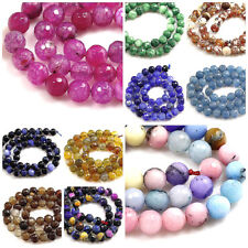 "Multi-color 8mm Faceted Agate Round Loose Spacer Beads 15"" Red Blue Green Pink"