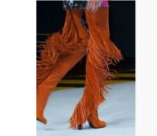 Womens Stretchy Suede Tassel Over Knee Thigh High Boots Suede Block Heels Shoes