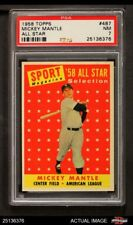 1958 Topps #487 Mickey Mantle - All-Star Yankees PSA 7 - NM
