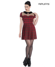 Hell Bunny Spin Doctor Goth Punk Mini Dress LILITH Mesh Red Tartan All Sizes