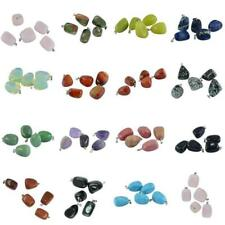 5pcs Natural Crystal Gemstone Pendants Charms Stone Beads With Silver Bail