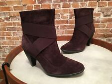 Libby Edelman Perry Brown Suede High Heel Ankle Boots NEW