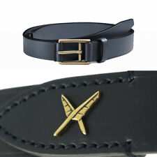sz 38 42 44 NEW $495 GUCCI Men Navy Blue LEATHER Gold Buckle FEATHER Detail BELT