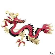 Goldtone Clear Crystal Chinese Dragon Brooch