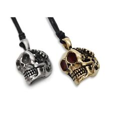 Skull Gothic Steam Punk Silver Pewter Gold Brass Charm Necklace Pendant Jewelry
