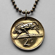 South Africa 2 cents coin pendant African necklace wildebeest antelope n000545