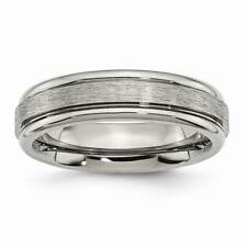 Titanium Grooved Edge 6mm Satin and Polished Band - Black