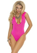 One Size & Queen Opaque Pink Nylon Hooded Teddy Romper SEXY Plus Size Lingerie