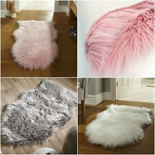 Plain Soft Fluffy Bedroom Faux Fur Fake Single Sheepskin Rugs Washable Floor Mat