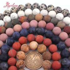 """12mm Round Frost Matte Jade Stone Spacer Loose Beads Strand 15"""" Muti-color Pink"""
