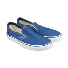Vans Classic Slip On Mens Blue Canvas Lace Up Sneakers Shoes