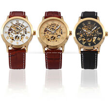 Luxury Gold Case Automatic Mechanical Skeleton Dial Leather Men's Wrist Watch