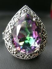 8ct Tear *Mystic Topaz* Victorian Filigree Sterling Silver Ring {Made To Order}