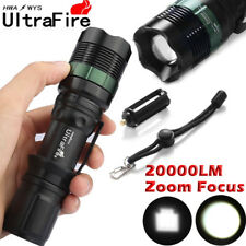 Ultrafire 20000LM 18650 T6 LED Flashlight Zoomable Torch Bicycle Laser Mount