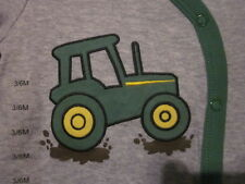 NWT - JOHN DEERE TRACTOR Image Size 3/6M or 6/9 Snap Long Sleeve Footed Romper