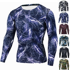 Men Compression Sports Apparel Skin Tights Base Under Layer T- Shirts Tops Newly