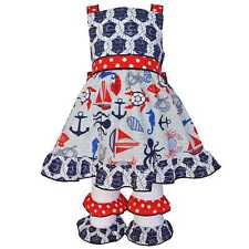 AnnLoren Girls Boutique Nautical Rope Dress and Capri Outfit