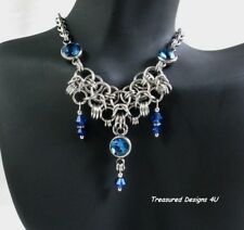 Chain Mail Blue Crystals Necklace Stainless Steel Chainmail Jewelry For Women