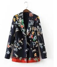 Fashion Women's Just cavalli flowered casual Jacket Long sleeved  Black coat