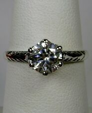 Victorian Wedding White Gem Solid Sterling Silver Filigree Ring [Made To Order]