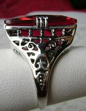 30ct Huge Big *Red Ruby* Solid Sterling Silver Filigree Ring (Made To Order)