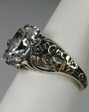 3ct White Gem Sterling Silver Victorian Revival Filigree Ring {Made To Order}#46