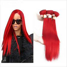 New Straight 1 Bundles Red Hair  Brazilian Remy Human Hair Weave Extensions 50g