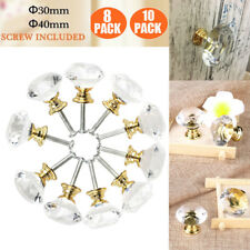 30mm/ 40mm Diamond Clear Crystal Glass Door Pull Drawer Knob Handle Cabinet Gold