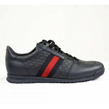 Sz 9 9.5 10 11 NEW $590 GUCCI Navy Blue LEATHER Microguccissima Men's SNEAKERS