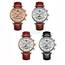 KINYUED Mens Leather Band Automatic Mechanical Business Watch With Gift Box