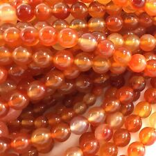 "Natural Orange Carnelian Round Beads 15"" 3 4 6 8 10 12 14mm"