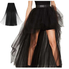 Women's Empired Waist High Low Sheer Mesh Tutu Tulle Prom Evening Party Skirt
