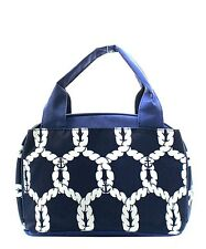 Navy Rope Insulated Lunch Tote Bag-- Lunch Bag-Back to school Must have!