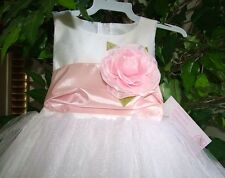 Stunning Girl's White Tulle Pink Sash Flower Girl Pageant Party Dress, Lito USA