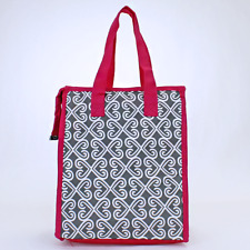Pink & Gray Twist Insulated Lunch Tote Bag-Lunch Bag