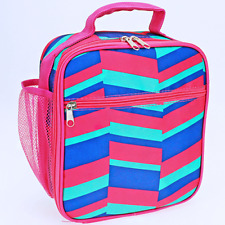 Pink Geometric Insulated Lunch Tote Bag