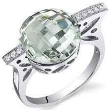 Sterling Silver Double Checkerboard-cut Gemstone and CZ Ring