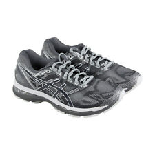 Asics Gel Nimbus 19 Mens Gray Mesh & Leather Athletic Lace Up Running Shoes